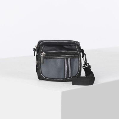 Сумка поясная, отдел на молнии, 2 наружных кармана, регулируемый ремень, цвет чёрный/серый