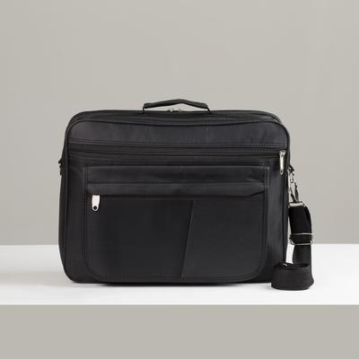 Сумка деловая, 2 отдела на молниях, 2 наружных кармана, длинная стропа, цвет чёрный