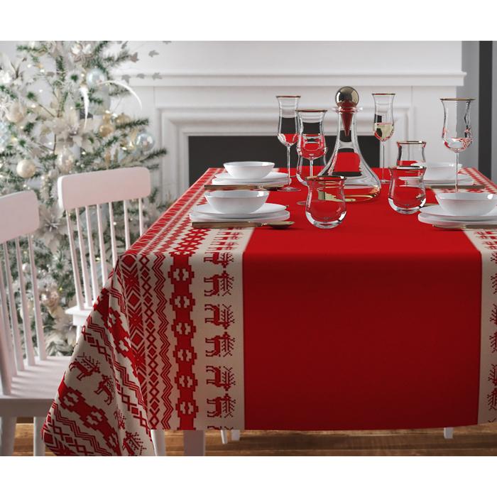 Скатерть с пропиткой «Рождественский узор», 140х220 см, оксфорд, 240 г/м2, 100% полиэстер