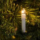 """Гирлянда """"Нить"""" с насадками """"Свечки на прищепке"""", 8 м, 20 ламп, свеча 7.5 см, 220 В, нить тёмная, свечение тёплое белое"""