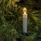 """Гирлянда """"Нить"""" с насадками """"Свечки на прищепке"""", 8 м, 20 LED, свеча 7.5 см, 220 В, нить тёмная, свечение тёплое белое"""