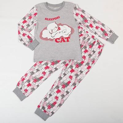 Пижама для девочки, рост 122 см, цвет серый