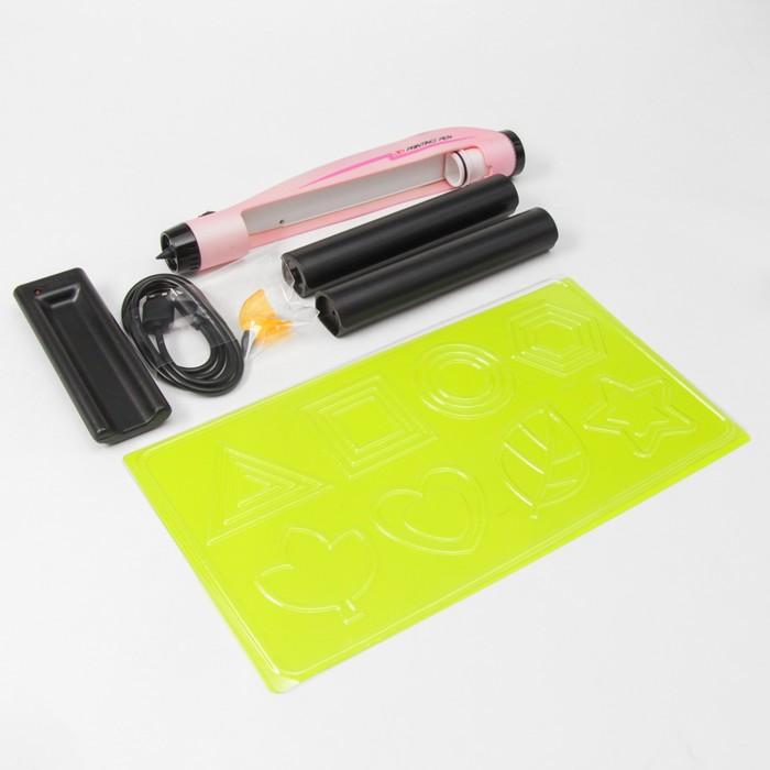 3D ручка, заряжается от сети, работает на аккумуляторе, для жидкого пластика, цвет розовый - фото 685445978