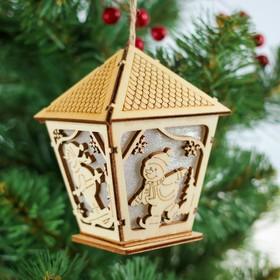 Декор с подсветкой «Фонарь со снеговиком»