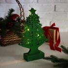 """Новогодний сувенир """"Резная ёлочка"""",  с подсветкой, зеленая"""