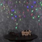 """Гирлянда """"Бахрома"""", 3 х 0.5 м, """"Ёлки и снежинки"""" LED-80-220V, мигает, нить прозрачная, свечение мульти (RG/RB)"""
