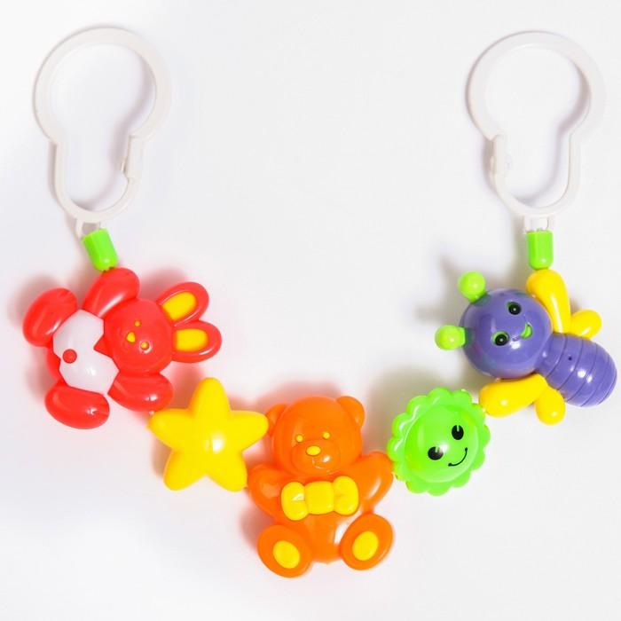 Растяжка на коляску/кроватку «Пчелка, мишка, зайка», 3 игрушки