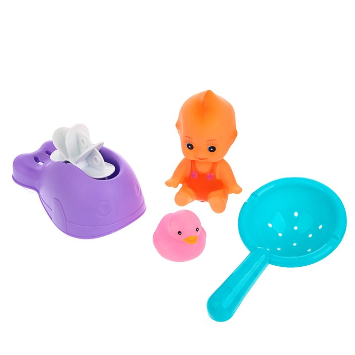 Набор игрушек для купания «Пупс с игрушками», 4 предмета - фото 105534726