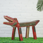 """Сувенир """"Лавка зубастый крокодил"""" 120 см, резьба, красно-зеленая"""