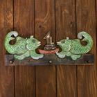 """Панно настенное вешалка """"Две рыбки с корабликом"""" зеленые 40х15 см"""