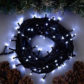 """Гирлянда """"Нить"""" 10 м , IP44, УМС, тёмная нить, 100 LED, свечение белое, мерцание белым, 220 В в Донецке"""