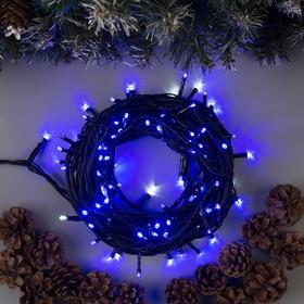 """Гирлянда """"Нить"""" 10 м , IP44, УМС, тёмная нить, 100 LED, свечение синее, мерцание белым, 220 В в Донецке"""