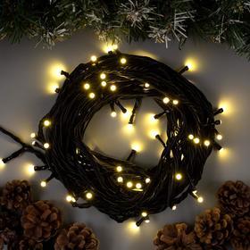 """Гирлянда """"Нить"""" 10 м , IP44, УМС, тёмная нить, 72 SMD-LED, свечение тёплое белое, 220 В в Донецке"""
