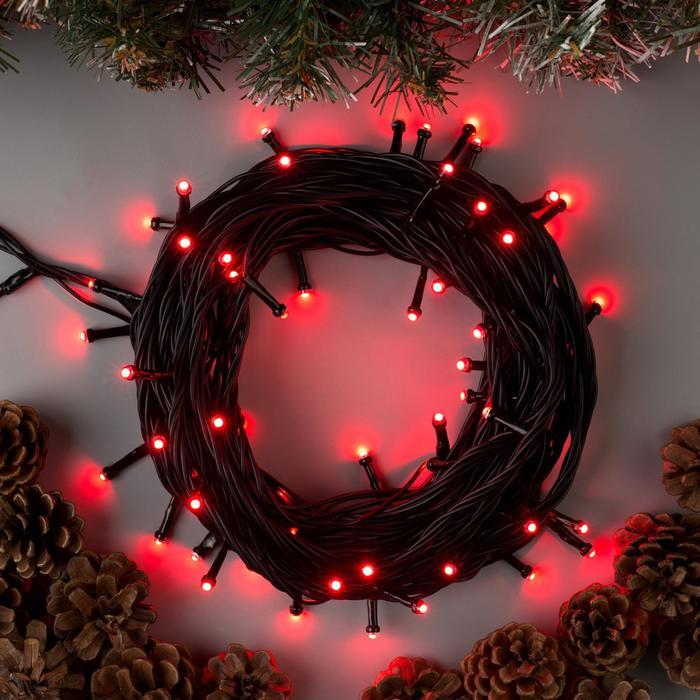 """Гирлянда """"Нить"""" уличная, УМС, 10 м, 3W LED(SMD-SB)-72-220V, нить тёмная, свечение красное - фото 687152080"""