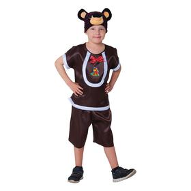 "Carnival costume ""Bear Toptyzhka"", satin, hat, jacket, pants, height 122-128 cm"