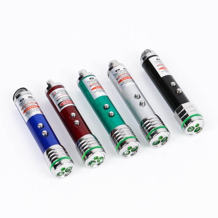 Фонарик ручной с карабином, 1 LED, 3 батареи, микс, 1.5х1.5х9 см