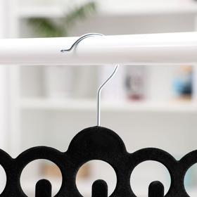 Вешалка для ремней и галстуков флокированная 30.5×20.5 см, 11 крючков, цвет чёрный - фото 4642647