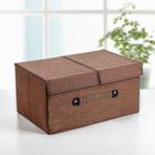 Короб для хранения с двойной крышкой «Песок», 45×30×21 см, цвет коричневый - фото 308331715
