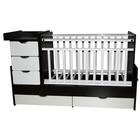 Кровать детская-трансформер «Любаша 3 Жираф»  маятник поперечный, венге-белая