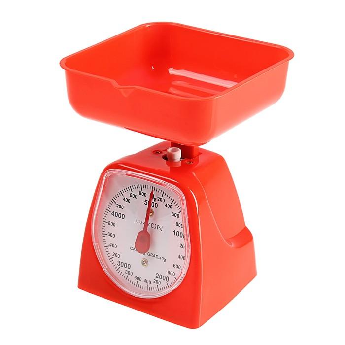 Весы кухонные LuazON LVKM-501, до 5 кг, шаг 40 г, чаша 1200 мл, пластик, красные