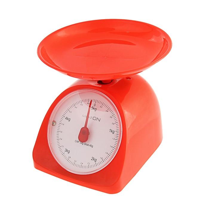 Весы кухонные LuazON LVKM-502, до 5 кг, шаг 40 г, чаша 200 мл, пластик, красные