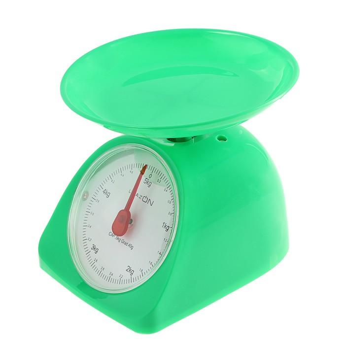 Весы кухонные LuazON LVKM-502, до 5 кг, шаг 40 г, чаша 200 мл, пластик, зеленые