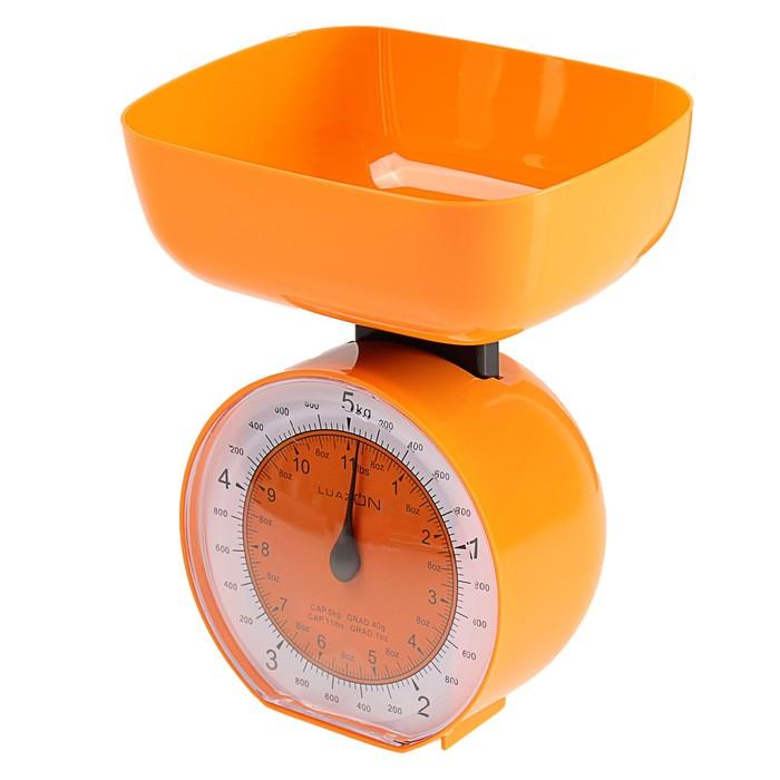 Весы кухонные LuazON LVKM-503, до 5 кг, шаг 40 г, чаша 1000 мл,  пластик, оранжевые