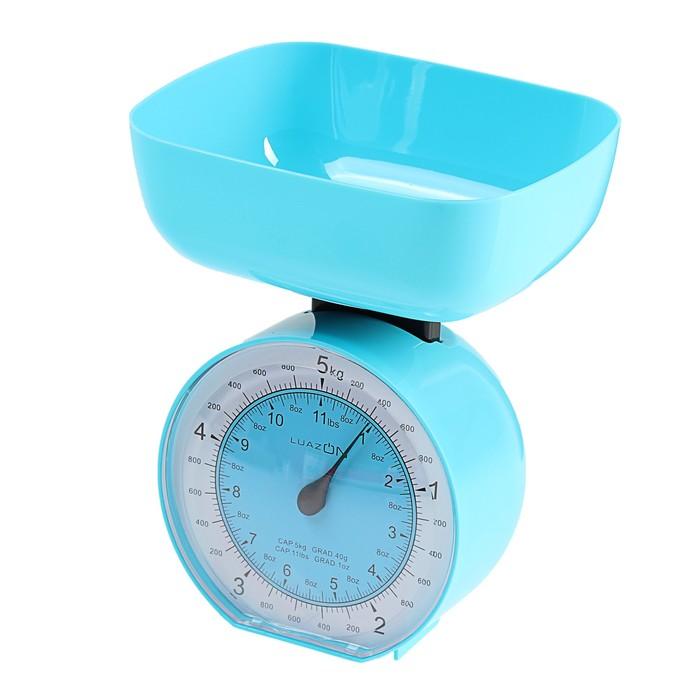 Весы кухонные LuazON LVKM-503, до 5 кг, шаг 40 г, чаша 1000 мл, пластик, голубые