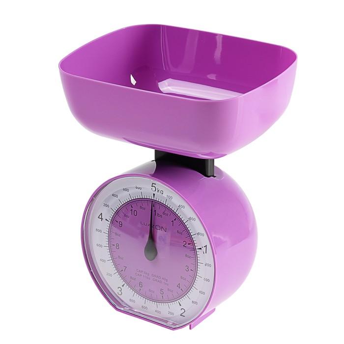 Весы кухонные LuazON LVKM-503, до 5 кг, шаг 50 г, чаша 1000 мл, пластик, фиолетовые