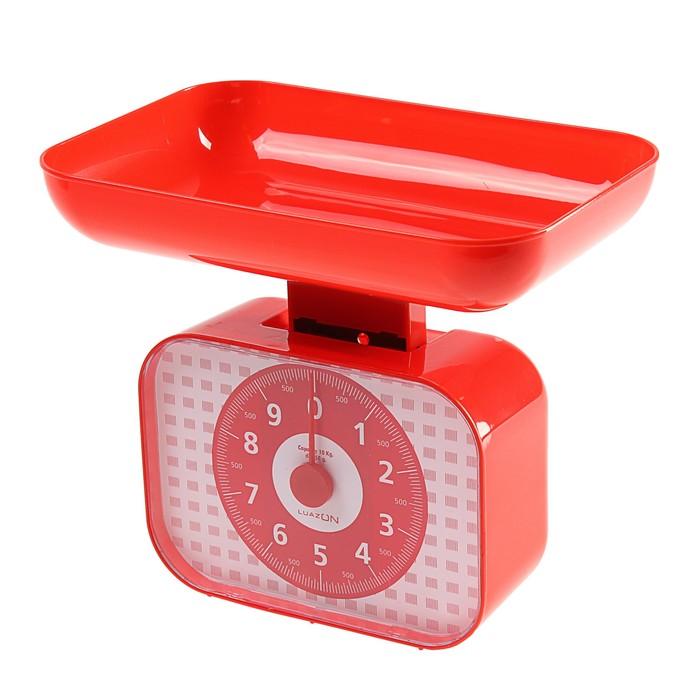 Весы кухонные LuazON LVKM-1001, до 10 кг, шаг 50 г, чаша 1200 мл, пластик, красные