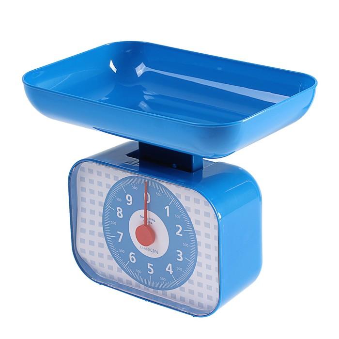 Весы кухонные LuazON LVKM-1001, до 10 кг, шаг 50 г, чаша 1200 мл, пластик, синие