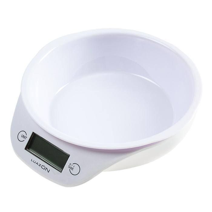 Весы-чашка кухонные LuazON LVKB -501 до 5 кг, шаг 1 г, чаша 1300 мл, пластик, белый