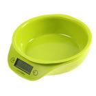 Весы кухонные LuazON LVKB-501, электронные, до 5 кг, чаша 1.3 л, зелёные - фото 308032556