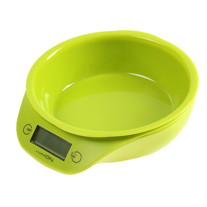 Весы-чашка кухонные LuazON LVKB -501 до 5 кг, шаг 1 г, чаша 1300 мл, пластик, зеленый