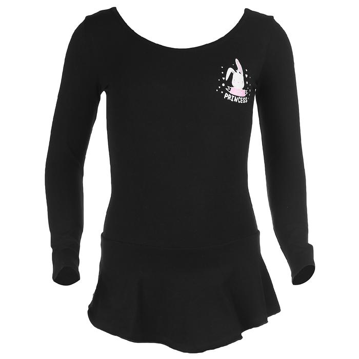 Купальник гимнастический Зайка х/б, с юбкой длин.рукав, размер 30, цвет чёрный