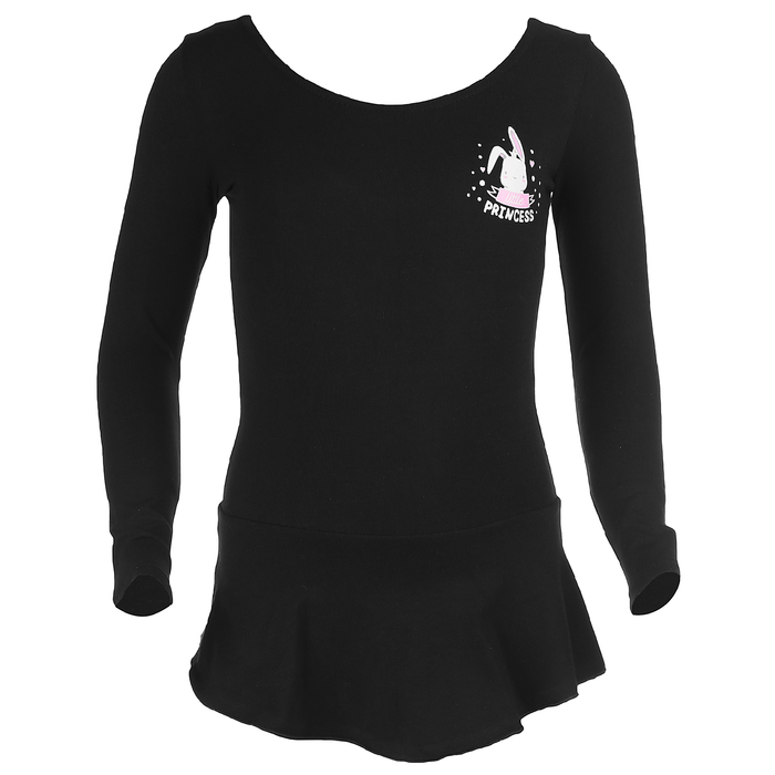 Купальник гимнастический Зайка х/б, с юбкой длин.рукав, размер 34, цвет чёрный