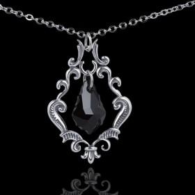"""Кулон """"Эдинбург"""", цвет чёрный в чернёном серебре"""