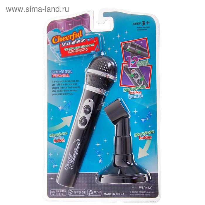 Микрофон со стойкой, 12 мелодий, звуковые эффекты, работает от батареек