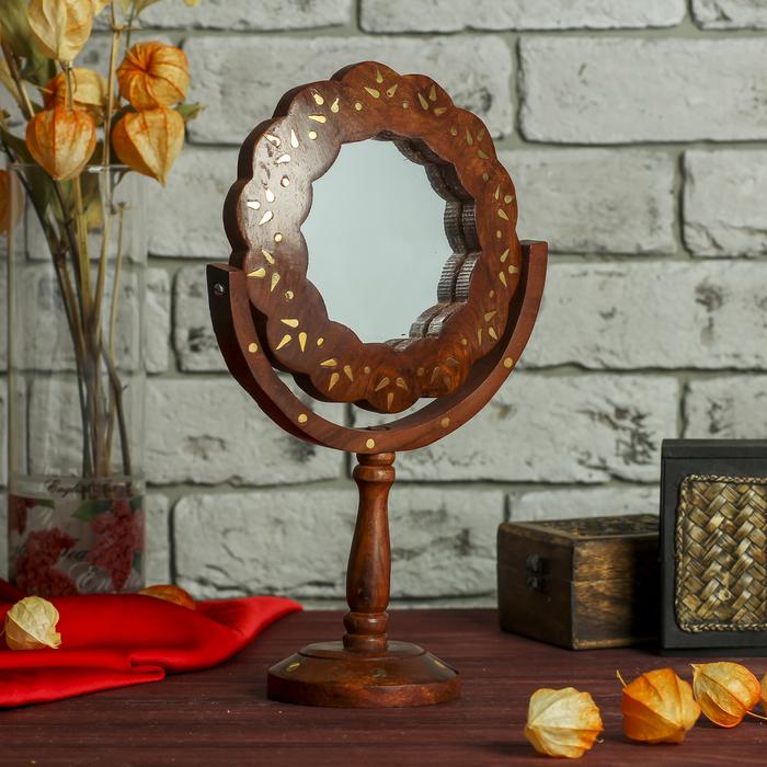 """Зеркало дерево """"Цветок"""" 17х8,5х27 см"""
