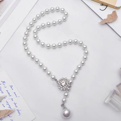 """Колье """"Жемчужное"""" с расстёгивающимся элементом, цветочек, цвет белый в серебре, 50 см"""