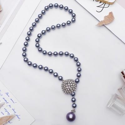 """Колье """"Жемчужное"""" с расстёгивающимся элементом, ромб, цвет серый в серебре, 50 см"""