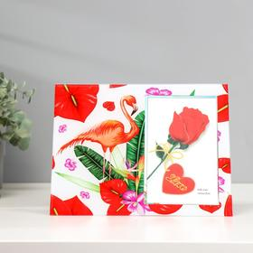 """Фоторамка стекло 10х15 см """"Фламинго и тропические цветы"""" 17х22 см"""