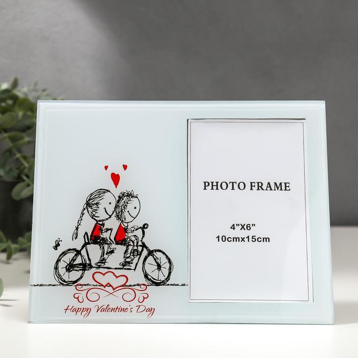 """Фоторамка стекло 10х15 см """"Влюблённые малыши на велосипеде"""" 17х22 см - фото 1734916"""