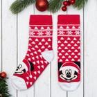 """Носки новогодние детские """"Снежинки"""" Дисней, Микки Маус, 16-18 см, красный"""