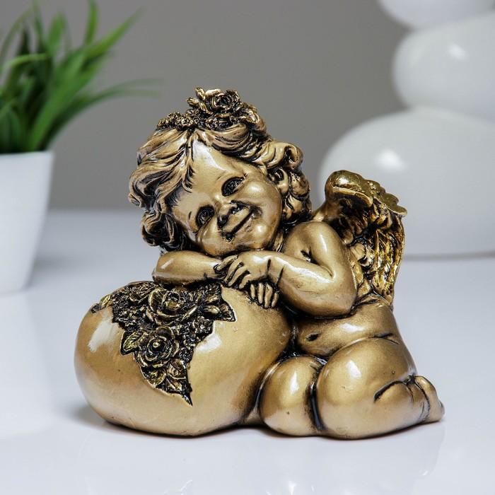 """Фигура """"Ангел. Сердце роз"""" золото 15х9х13см"""