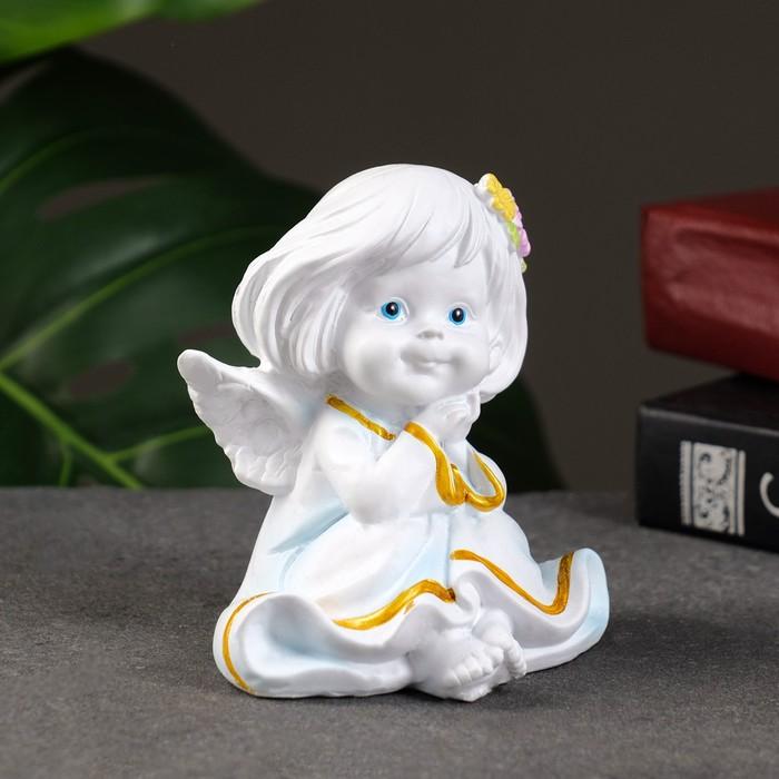 """Фигура """"Ангел с двумя цветочками в волосах"""" 7х8х9см"""