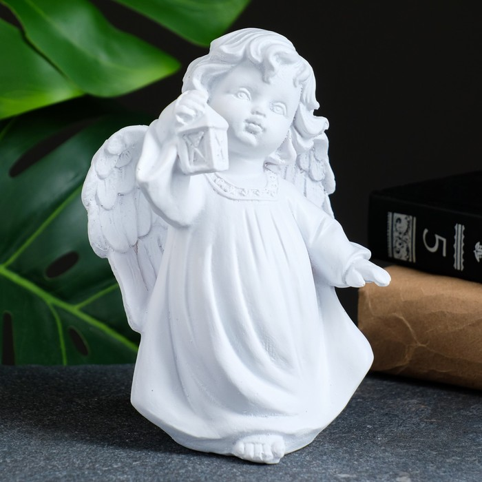 "Фигура ""Ангел с фонариком"" белый 7х10х15см"