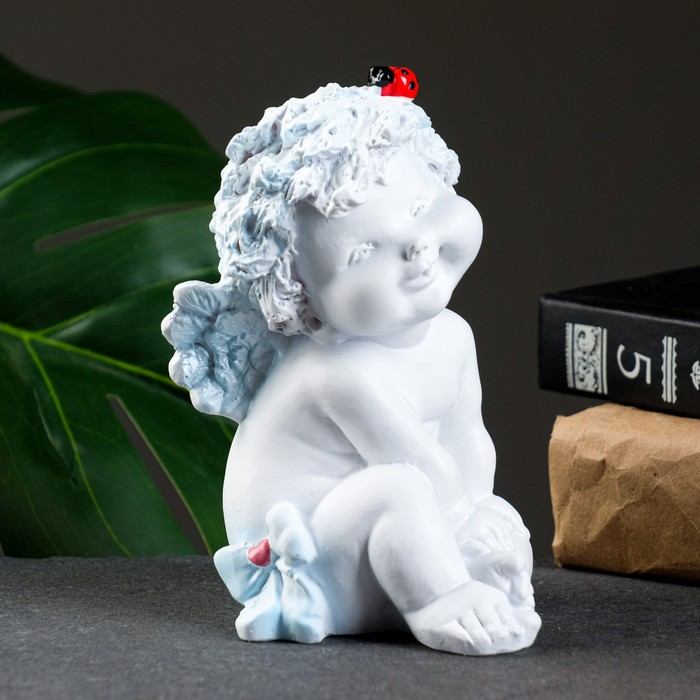 "Фигура ""Ангелочек с божьей коровкой"" белый 8,5х10х14см"