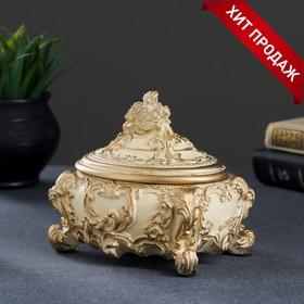 Шкатулка, слоновая кость/золото 15х12х14см