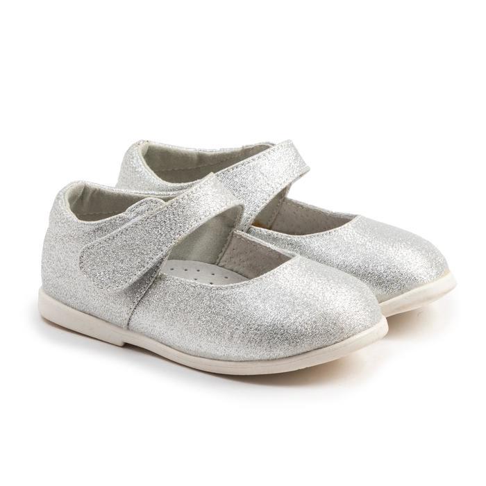 Туфли детские, цвет серебро, размер 21 - фото 1999543